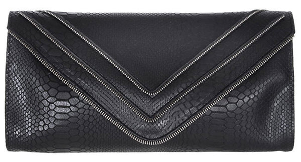 Hilary Zipper Clutch Black Cobra