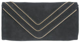 Hilary Zipper Clutch Black Suede