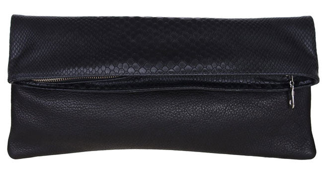 Eve Clutch Black Boa/Black Lamba