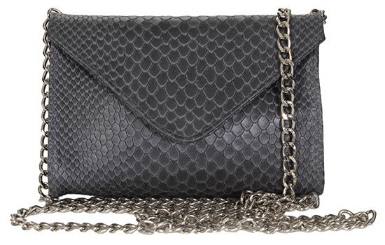 Hilary Mini Chain Clutch Grey Boa