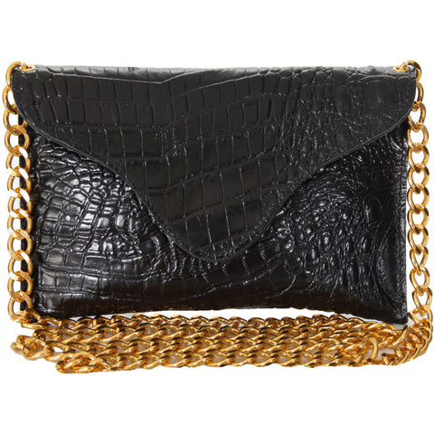 Black Croco/Gold Chain