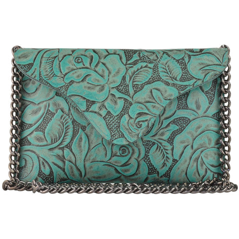 Turquoise Floral/Gunmetal Chain