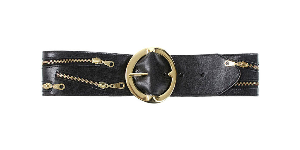 Kimmy Belt Black Distressed Leather