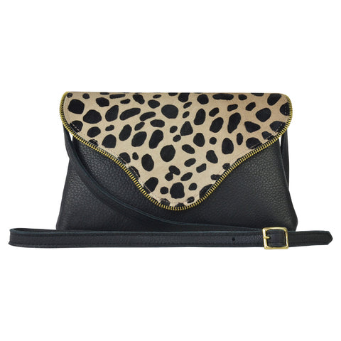 Camilla Colorblock Crossbody Cheetah Calf Hair & Black Lamba