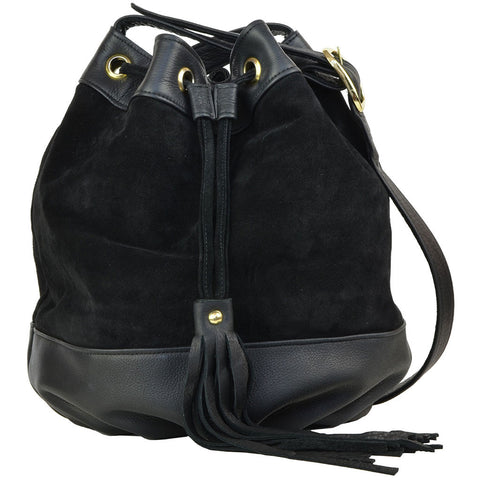 Lisa Bucket Bag Black Suede/Black Lamba
