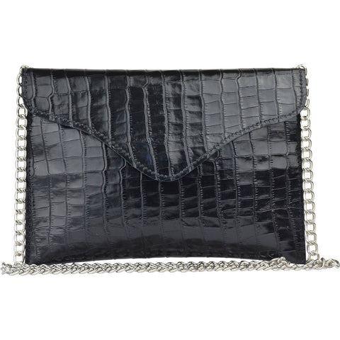 Large Miley Crossbody Black Alligator