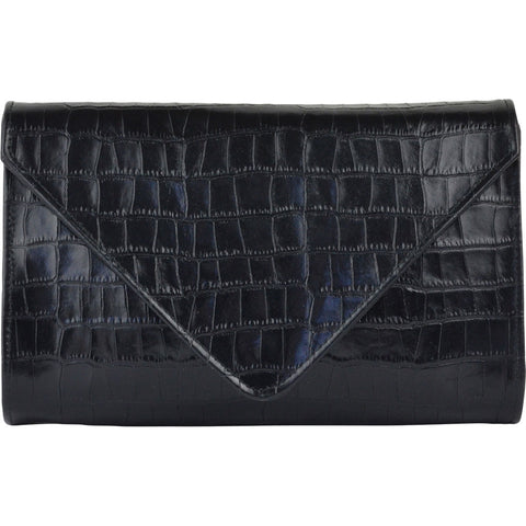 Hilary Medium Clutch Black Alligator