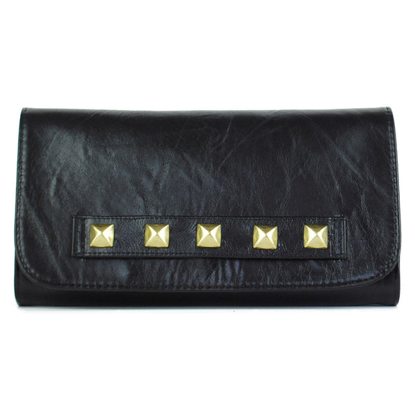 Willow Convertible Clutch Black Distressed Leather