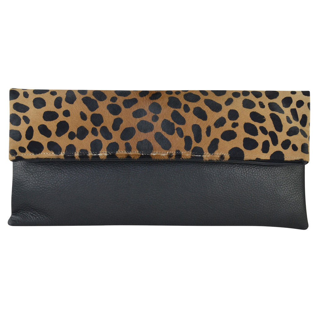 Cheetah Calf Hair/Black Lamba