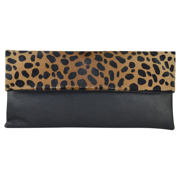 Everly Clutch Cheetah Calf Hair/Black Lamba
