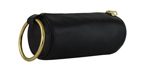 Amina Clutch Black Lamba/Gold Hardware