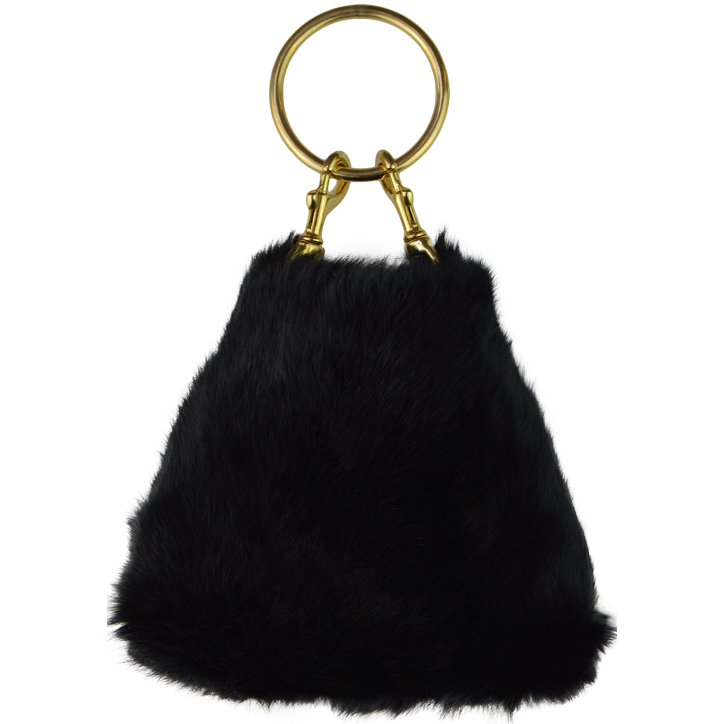 Coco Clutch Black Rabbit Fur