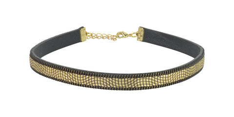 Gold and black adjustable choker