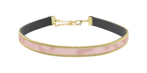 Pink and gold adjustable choker