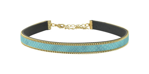 Turquoise and gold adjustable choker