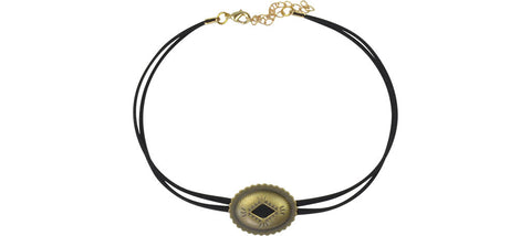 Black and gold single concho choker