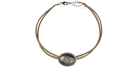 Taupe and silver single concho choker