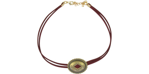 Wine and gold single concho choker