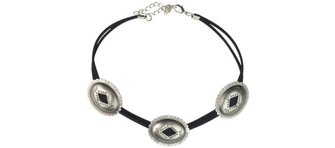 Black and silver triple concho choker