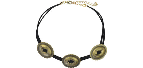 Black and gold triple concho choker