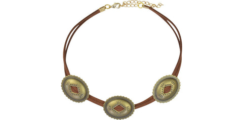 Rust and gold triple concho choker
