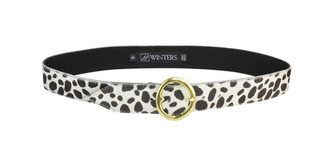 Cheetah Olivera Belt Bone Cheetah Calf Hair/Gold
