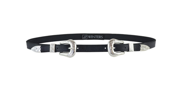 Coyote Belt Black Distressed Leather