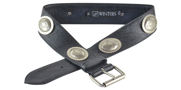 Olympia Belt Black Distressed Leather
