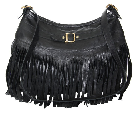 Julianne Messenger Black Distressed Leather