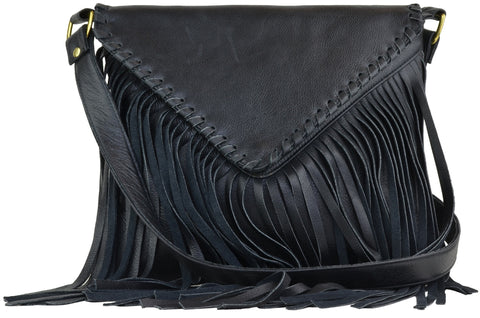 Emma Messenger Black Distressed Leather