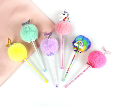 Unicorn Plush Gel Ink Pens