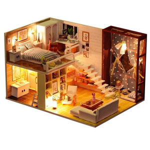 Miniature Doll House with Furniture made of Wood