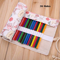 36/48/72 Holes Roll Pencilcase Canvas