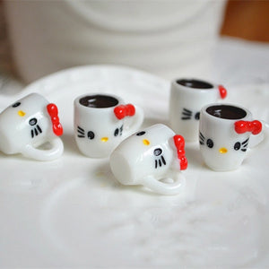 8pcs Kitty Coffee Cup Slime Accessories