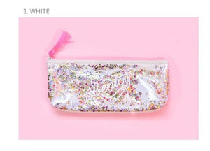 Transparent Pencil Case with Sequins