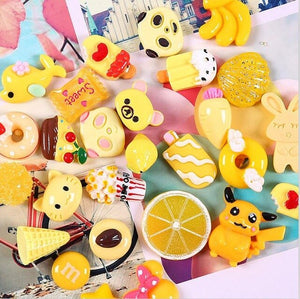 30pcs Assorted Fruits&Cartoon Slime Accessories