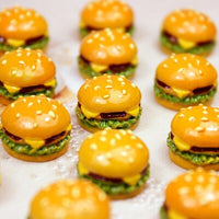 6pcs Mini Hamburger Slime Accessories