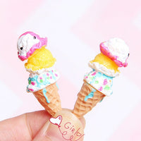 2pcs Mouse Ice Cream Slime Charms