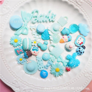 35pcs Adorable Blue  Slime Charms