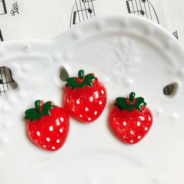10pcs Red Strawberry Slime Accessories