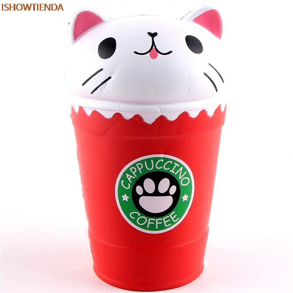 PU Cut Coffee Cup Cat Scented Squishy Slow Rising Squeeze Toy Collection Cure Gift Squeeze Toys Jumbo Collection Squeeze Cure