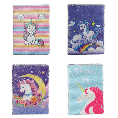 Lovely Unicorn Pattern Sequins Diary Notebook