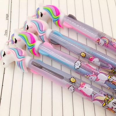 2pcs Unicorn Tricolor Ink Ballpoint Pen