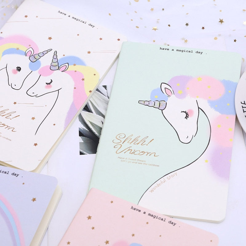 Creative Cute Kawaii Unicorn Printing Cover Notebook Cartoon Diary Planner Notepad Paper For Kids Korean Student Stationery Gift
