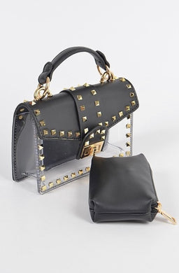 Studded See Through Clutch - Black