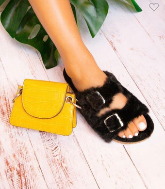 Victoria Furry Double Band Sandal - Black