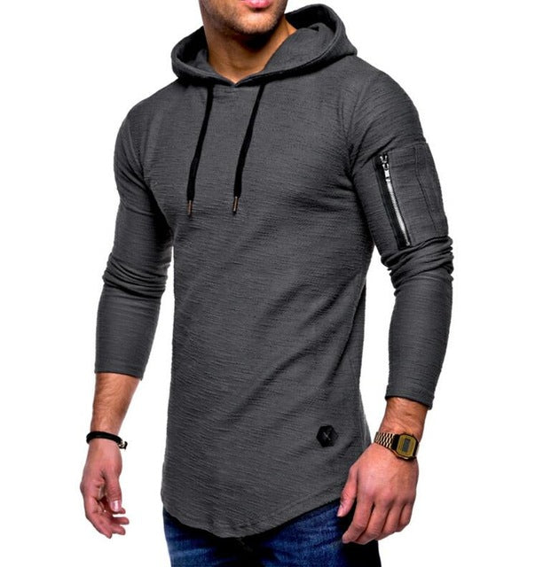 2018 Autumn New Fashion Mens Hoodies Brand Men Solid Color Hooded Sling Sweatshirt  Mens Hoodie Hip ad2323fa6