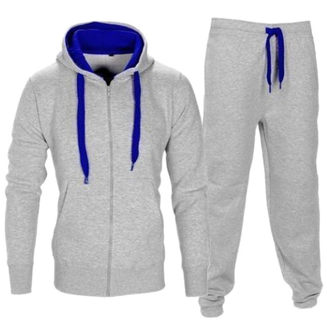 2019 Autumn Sportwear Fashion Mens Set 2pc Zipper Hooded Sweatshirt Jacket+pant Moleton Masculino Sets Tracksuit Men Home