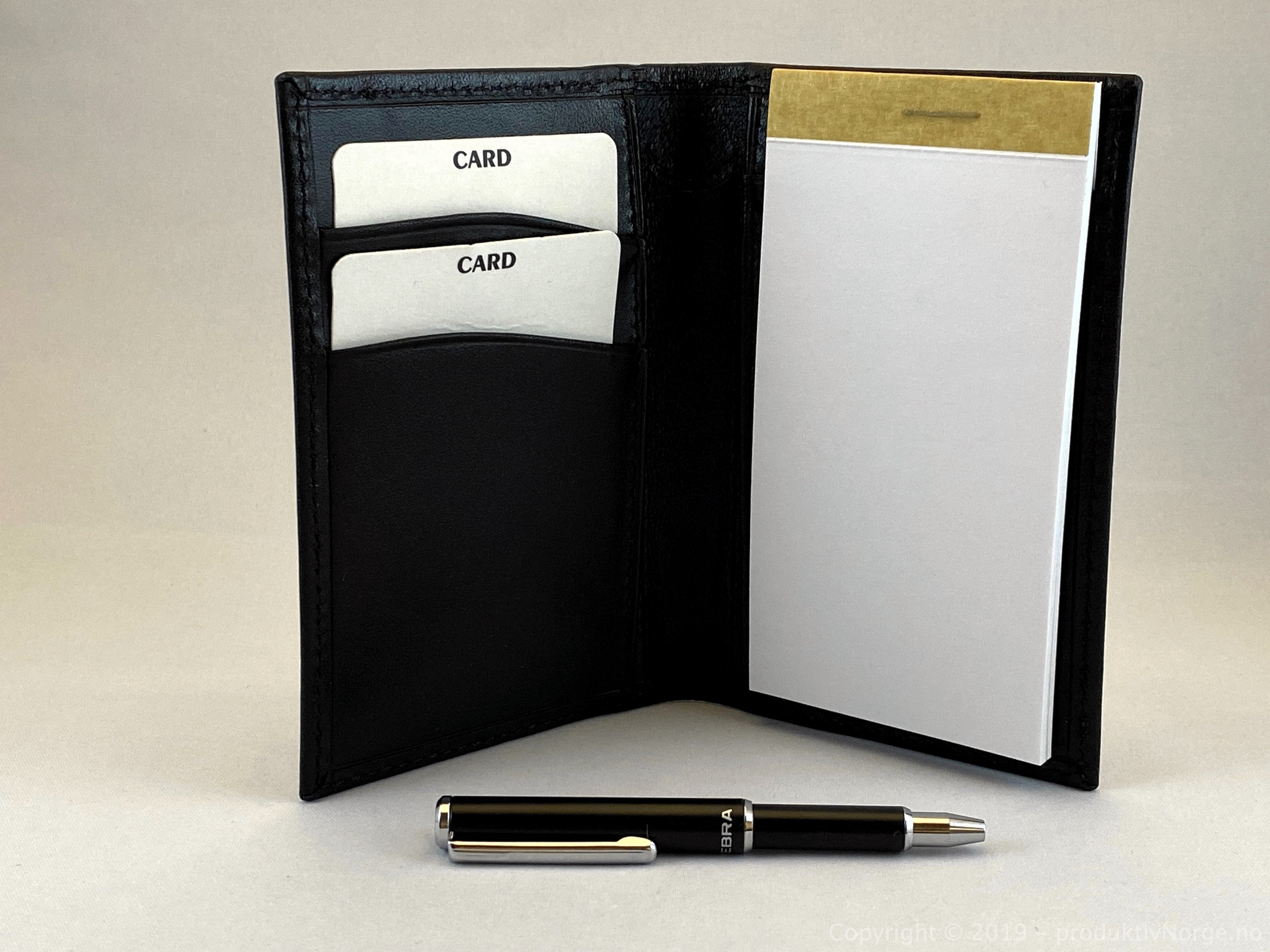 Zebra pen black retracted. Shown with a Business Capture Wallet