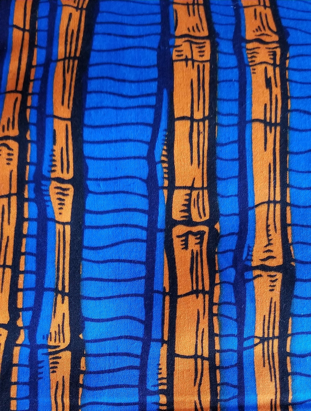 'Orange Bamboo' Ankara Fabric (6 yds)